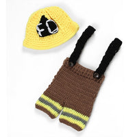 Newborn Fireman Firefighter Crochet Set brown yellow wool newborn firefighter baby