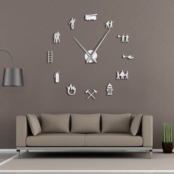 Firefighter-themed large wall clock for your home, office or the firehouse. Silver.