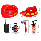 Firefighter Gear Prop Toy Set For Kids toys plastic red hat radio spray ax hammer
