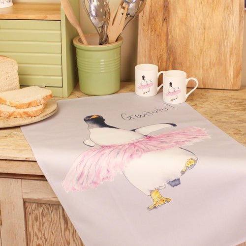 'Dancing Penguin In a tutu' Tea Towel - Willow Leaf Gifts