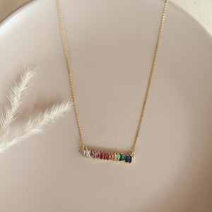Collar Strass Barrita Horizontal Multicolor