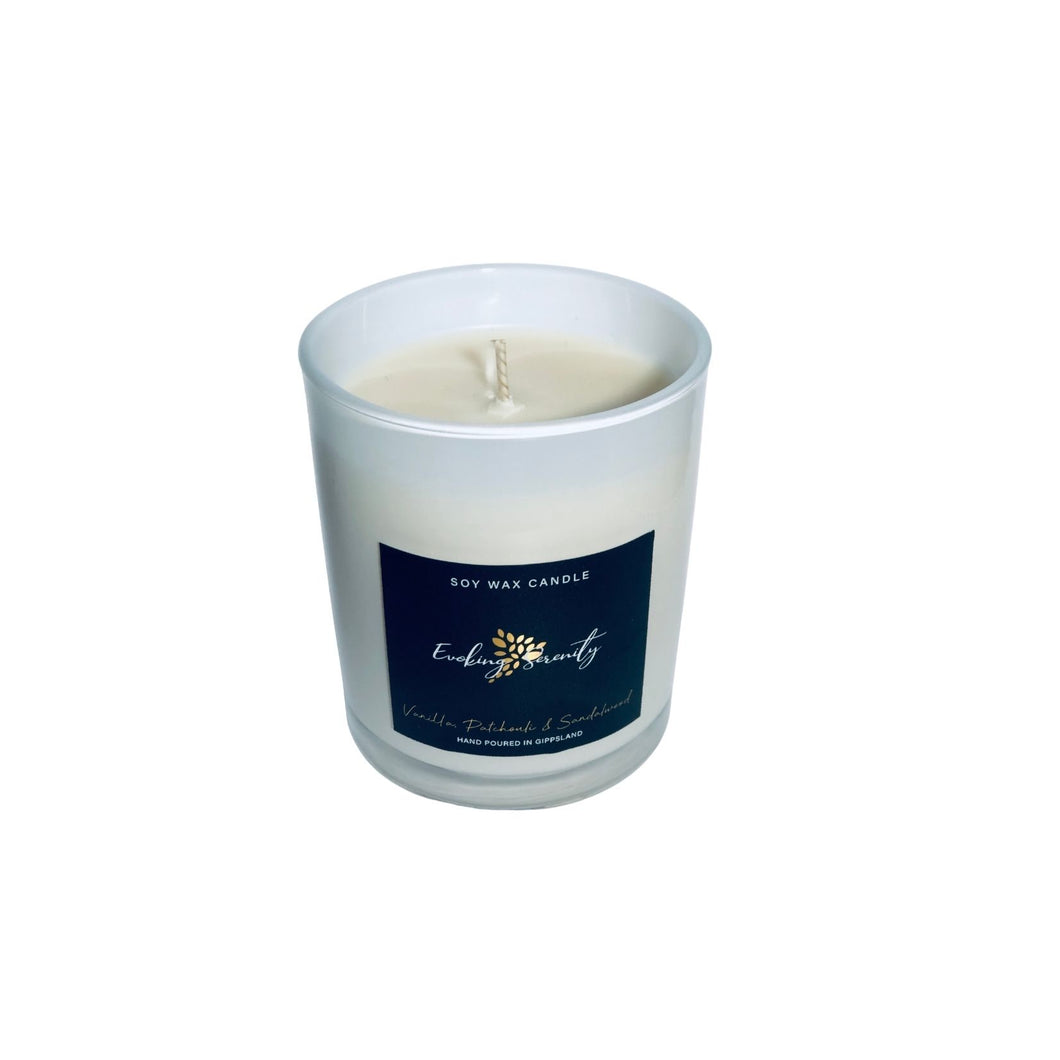 Vanilla, Patchouli and Sandalwood Soy Wax Candle - Evoking Serenity