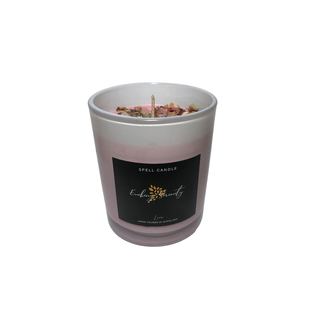 Rose Quartz Love Spell Candle - Evoking Serenity