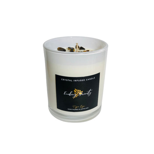 Tiger Eye Crystal Infused Soy Wax Candle - Evoking Serenity