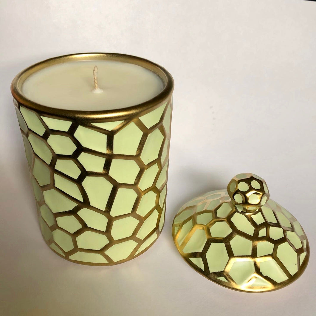 Mint and Gold Canister Candle - Evoking Serenity