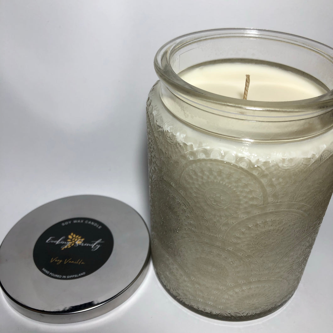 Embossed Jar Soy Wax Candle - Clear - Evoking Serenity
