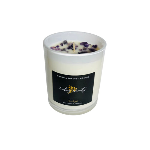 Amethyst Crystal Infused Soy Wax Candle - Evoking Serenity