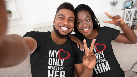 Couples Shirts For Valentines My Heart only Beats For Her - My Heart Only Beats For Him