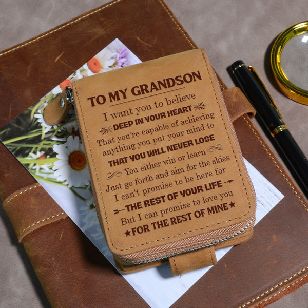 To My Grandson - Never Lose - Card Holder Zipper Wallet