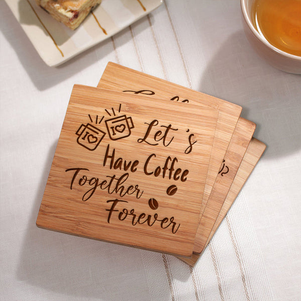 Set of 4 Engraved Coffee Coasters - Housewarming Gift For Family Friend