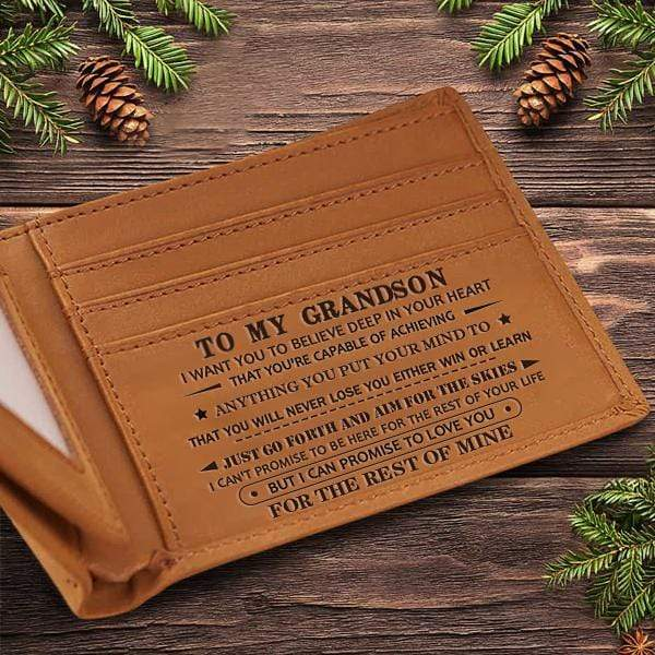 To My GrandSon - Genuine Premium Leather Card Wallet