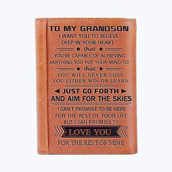 To My GrandSon - Genuine Premium Leather Wallet
