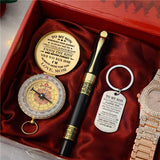 Mom To Son - Enjoy The Ride - Compass Keychain Watch Pen Gift Set