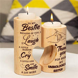 To My Bestie - Smile A Lot More - Round Candle Holder