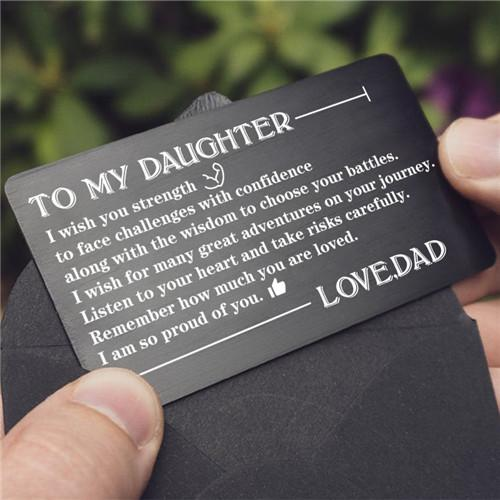Dad To Daughter - Listen To Your Heart - Engraved Wallet Card