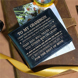 To My Grandson - Never Lose - Black Genuine Leather Wallet