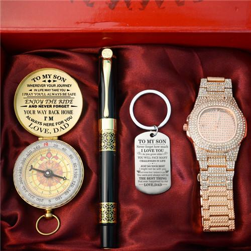 Dad To Son - Enjoy The Ride - Compass Keychain Watch Pen Gift Set