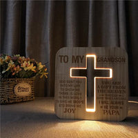 Papa To Grandson - God Sent You Into My Life  - Cross Lamp