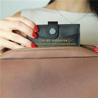 Mom To Daughter - Enjoy The Ride - RFID Blocking Genuine Leather Card Holder