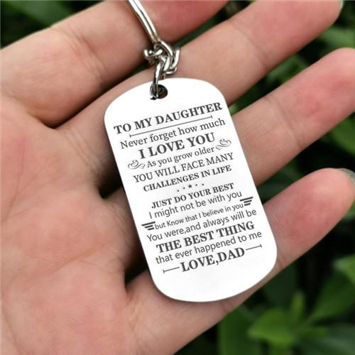 Dad To Daughter - Just Do Your Best - Inspirational Keychain