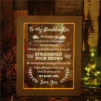 To My Granddaughter - Straighten Your Crown - Frame Lamp