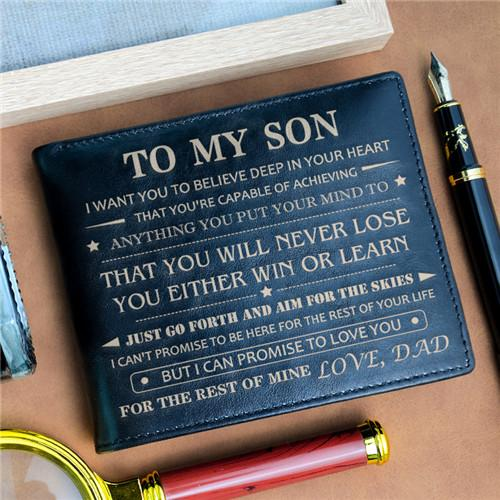 Dad To Son - Never Lose - Black Genuine Leather Wallet