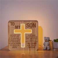 Mom To Son - God Sent You Into My Life  - Cross Lamp