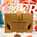 To My Grandson - Never Lose - RFID Blocking Genuine Leather Card Holder