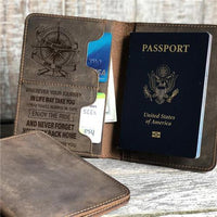 To My Grandson - Enjoy The Ride - Genuine Leather Passport Wallet
