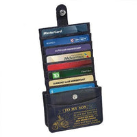 Mom To Son - Enjoy The Ride - RFID Blocking Genuine Leather Card Holder