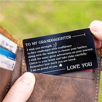 To My Granddaughter - Listen To Your Heart - Engraved Wallet Card