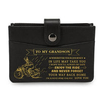 To My Grandson - Enjoy The Ride - RFID Blocking Genuine Leather Card Holder