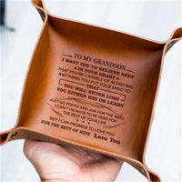 To My Grandson - Never Lose - Leather Valet Tray