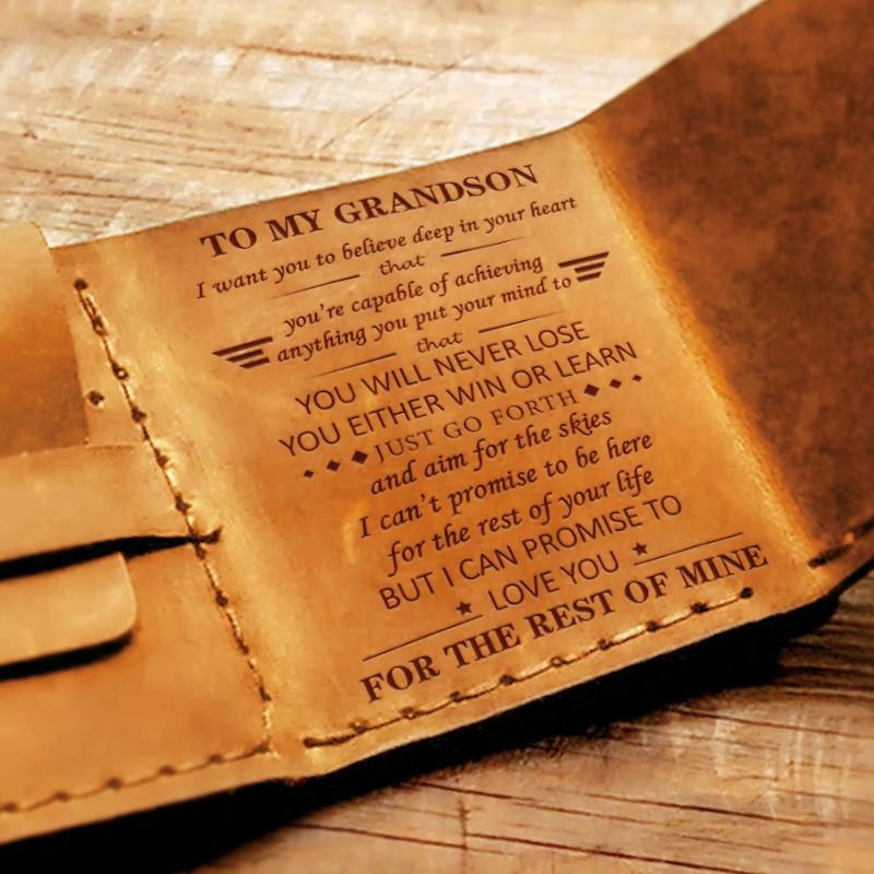 To My GrandSon - Premium Cow Leather Trifold Wallet