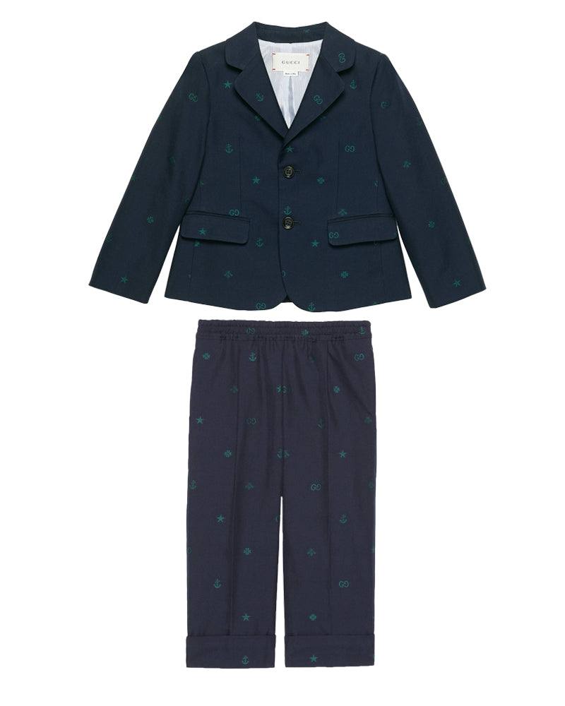 Boys Navy Cotton Suit
