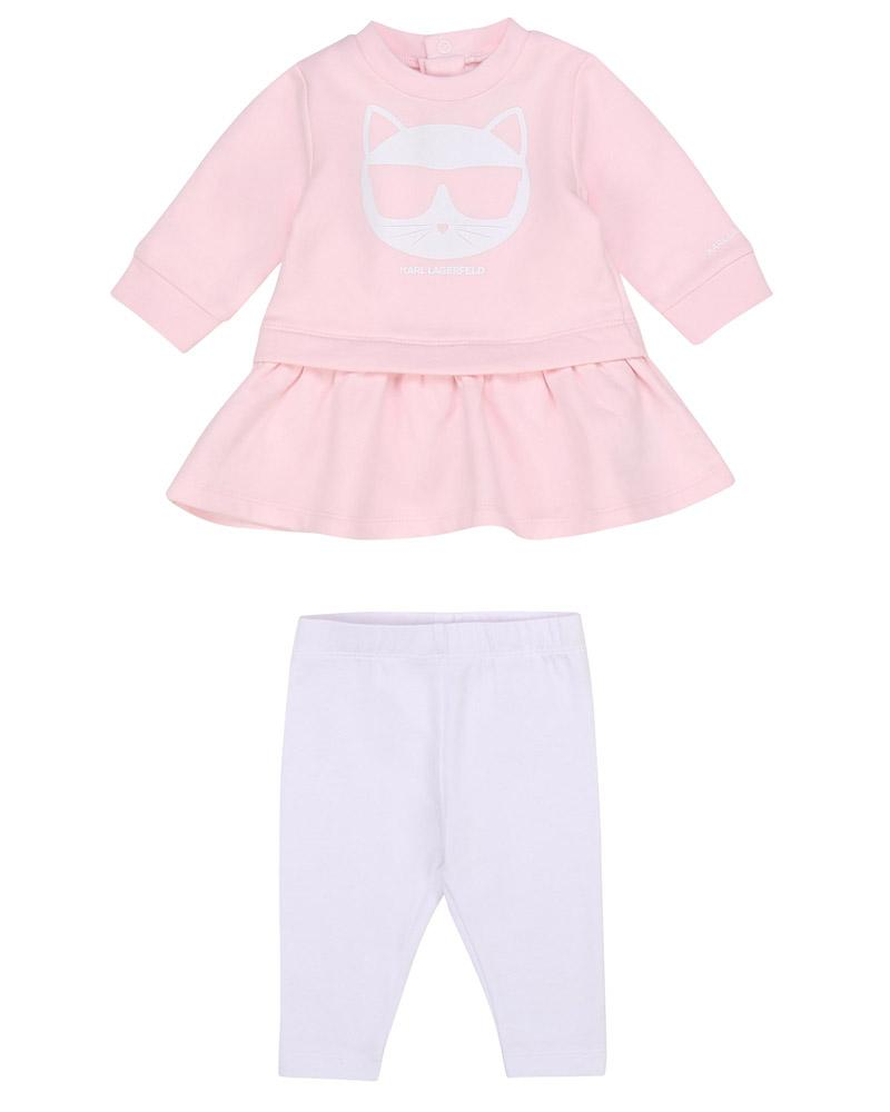 Baby Girls Pink Dress & Legging Set