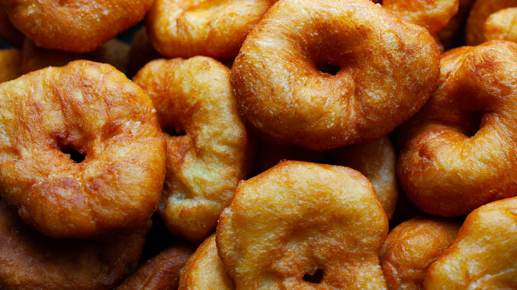 Potato donuts with maple syrup