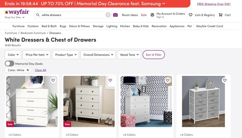 Image from a search on Wayfair.com