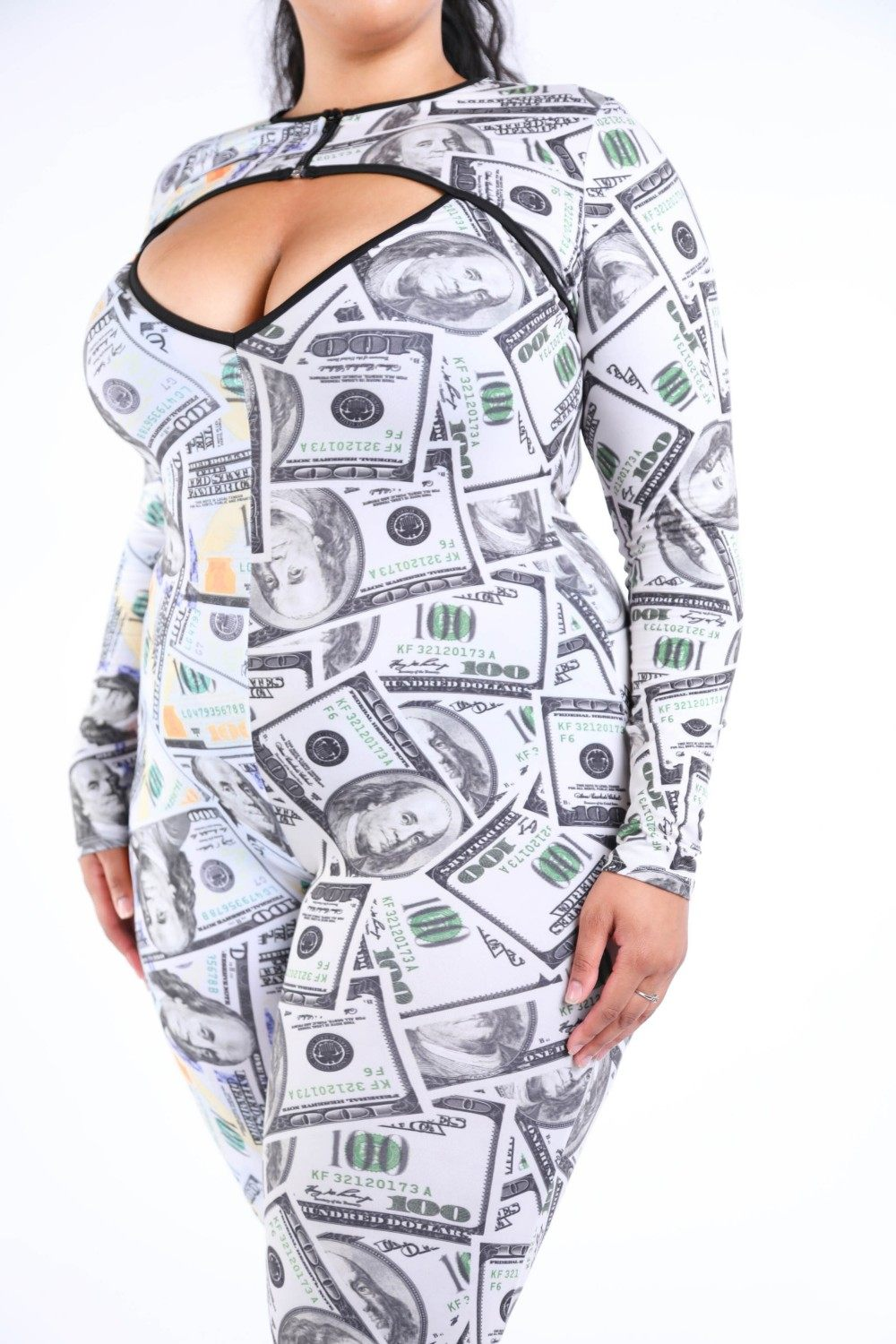 New Money Old Money Catsuit-Black Glitter Girl