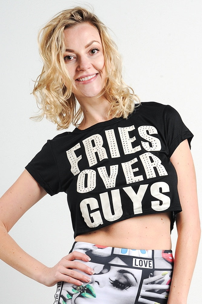 """fries Over Guys"" Graphic Studs Detail Crop Top-Black Glitter Girl"
