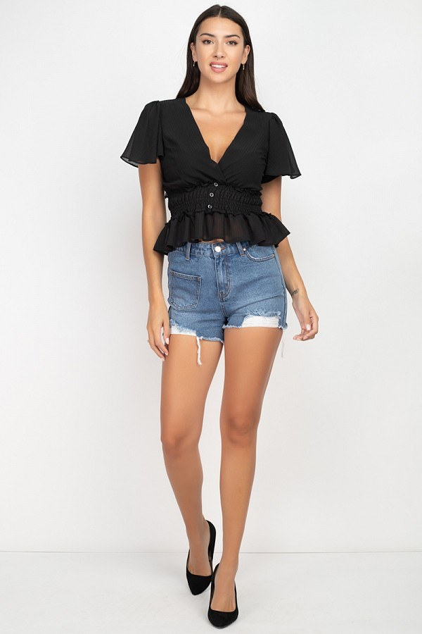 Heavy Distressed Raw Cut Shorts-Black Glitter Girl