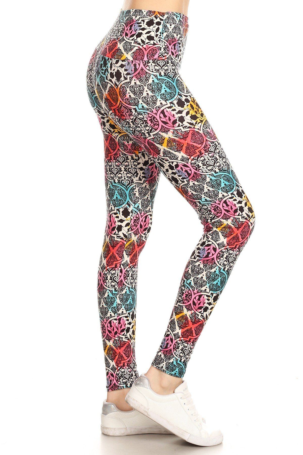 5-inch Long Yoga Style Banded Lined Damask Pattern Printed Knit Legging With High Waist-Black Glitter Girl