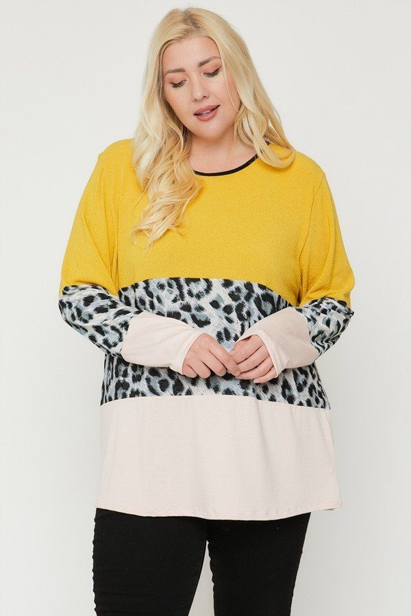 Plus Size Color Block Top Featuring A Leopard Print Top-Black Glitter Girl