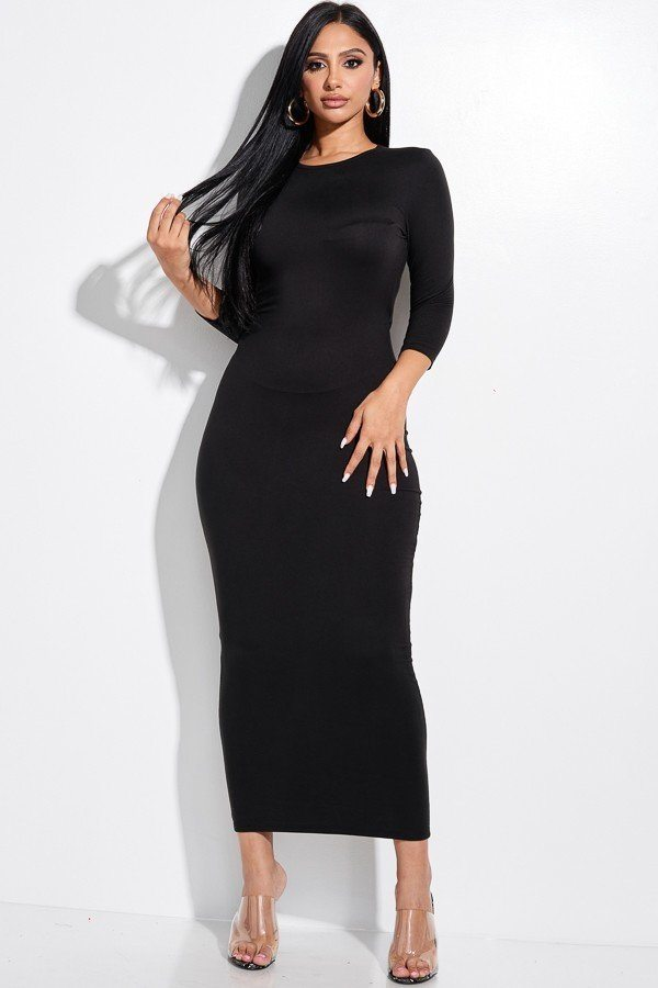 Solid 3/4 Sleeve Midi Dress With Back Cut Out-Black Glitter Girl