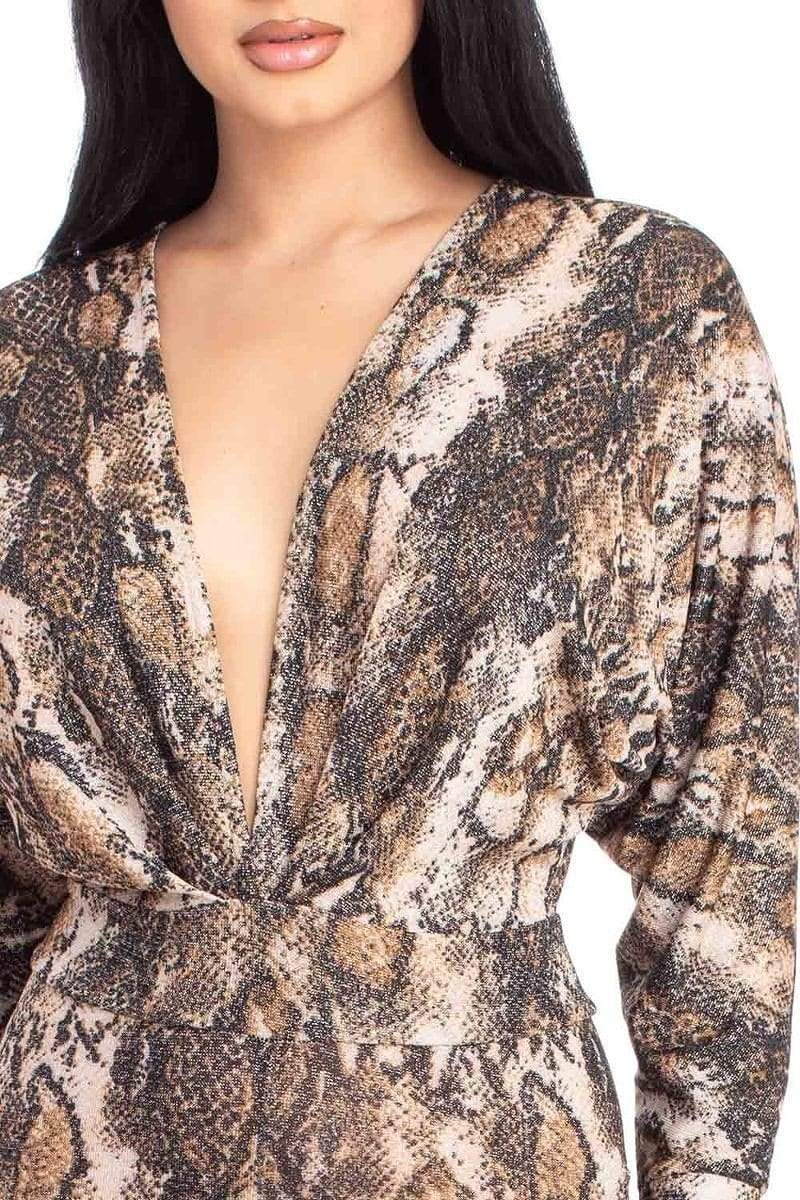 Animal Print Dolman Sleeve Jumpsuits-Black Glitter Girl