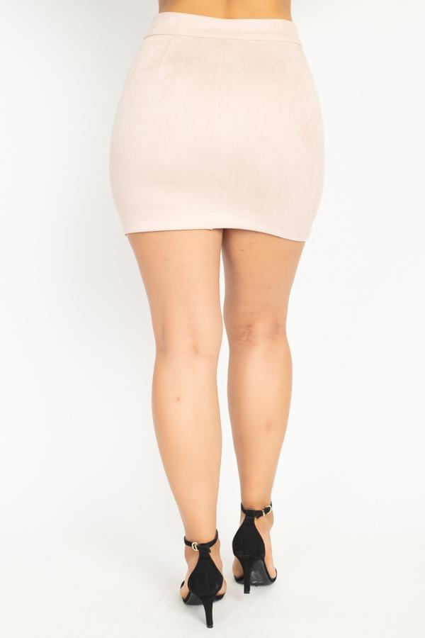 Faux Suede Front Zip Skirt-Black Glitter Girl