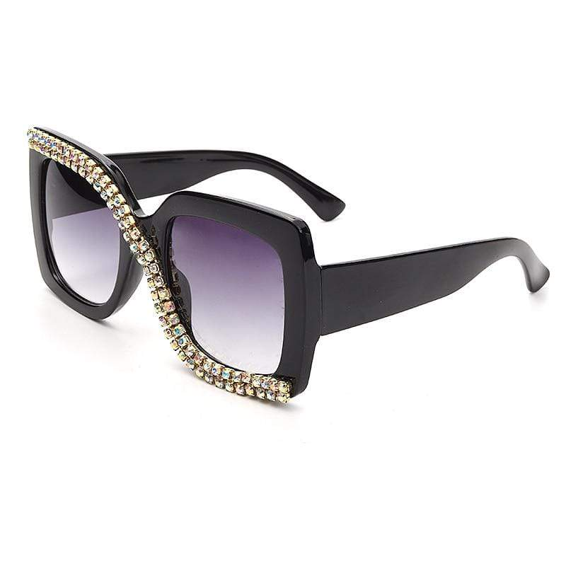 Retro Diamond-Women's Sunglasses-Black Glitter Girl