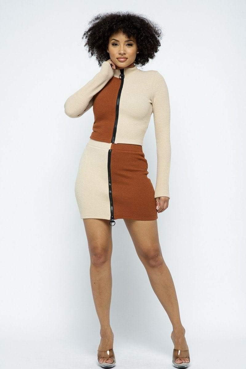 Rib Color Block Mock Neck Long Sleeve High-waist Mini Skirt With Front Zipper Set-Black Glitter Girl