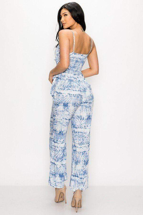 Tropical Leaf Print Tie Waist Jumpsuit-Black Glitter Girl