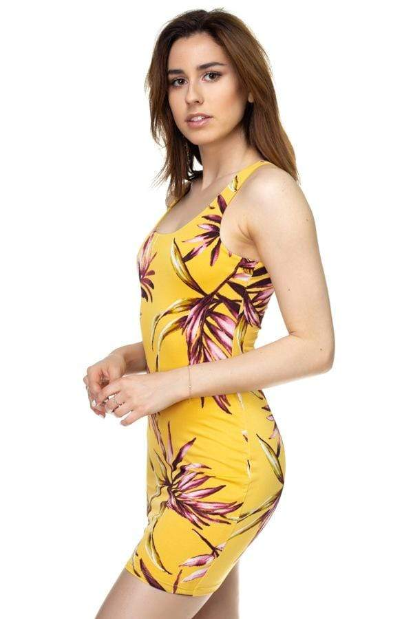 Tropical Print Mini Dress-Black Glitter Girl